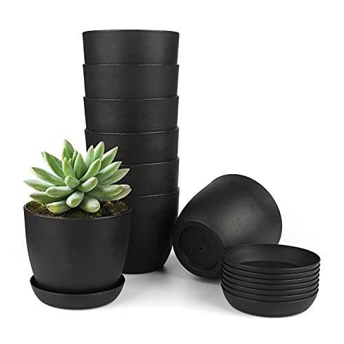 Kinglake, 8 vasi da fiori in plastica spessa 10 cm, per piante grasse e piccole piante in vaso, colore: nero