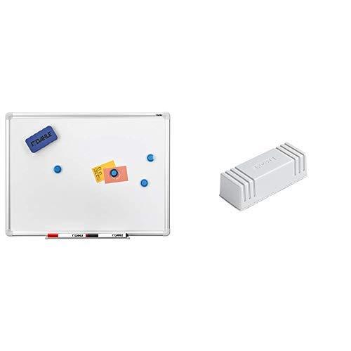 Dahle Basic Whiteboard (Beschreibbare Magnettafel in stabilem Alurahmen, 90 x 120 cm) & Whiteboard Löscher 95099 (Magnetischer Wischer für Trockenreinigung auf vielen Oberflächen) grau