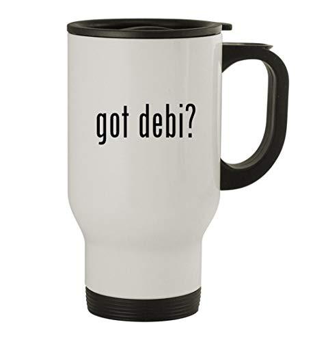 got debi? - 14oz Stainless Steel Travel Mug, White