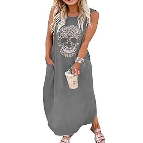 Vestidos de Camisa Punk para Mujer Vestido Holgado de Talla Grande para Mujer Vestido de Calle sin Mangas con Calavera hasta el Suelo