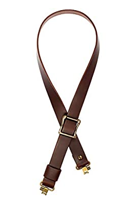 "Detroit Leather Shop USA Handmade Slider Buckle Rifle Sling 1.25"" Wide Brown Buffalo Leather with Brass Hardware-SWIVELS Included!-(Model B)"
