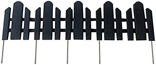 """Abba Patio Garden Fence Recycled Plastic Landscape Edging 6 Sections 23"""" x 6"""" Lawn Edging Flexible No-Dig Picket Fence Style Decorative Border, Black"""