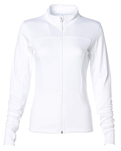 Global Blank Womens Slim Fit Lightweight Full Zip Yoga Jacket White Large