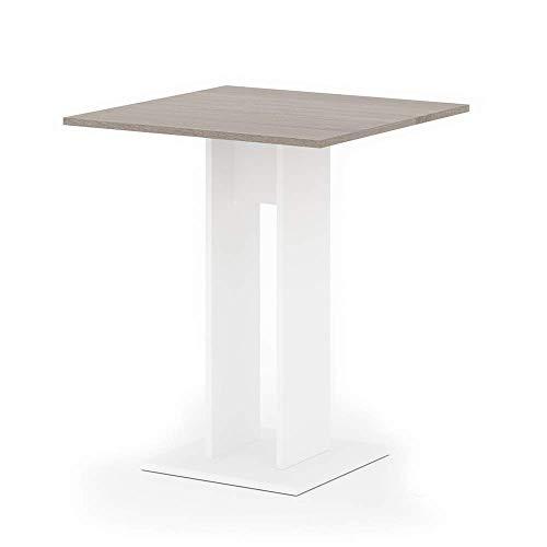 Vicco Esstisch EWERT Küchentisch Esszimmer Tisch Säulentisch weiß 65x65 cm (Weiß/Sonoma Eiche)