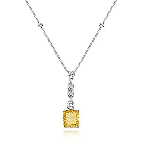 Kkoqmw Plata esterlina 925 Simulación Diamante Amarillo Flor de Hielo Corte Colgante Collar Cadena de Regalo Longitud 40 + 3cm