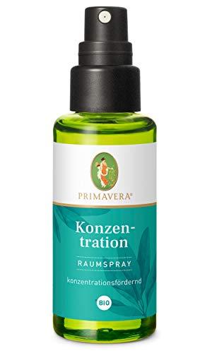 PRIMAVERA Raumspray Konzentration bio 50 ml - Zitrone, Riesentanne und Salbei - Aromadiffuser, Aromatherapie - konzentrationsfördernd - vegan