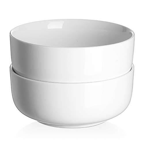 DOWAN White Serving Bowls for Kitchen, 1.5 Quart Large Pho Bowls, Ceramic Serving Bowls for Soup and Pho, Microwave and Dishwasher Safe Oversized Salad Cereal Bowls, 2 Packs