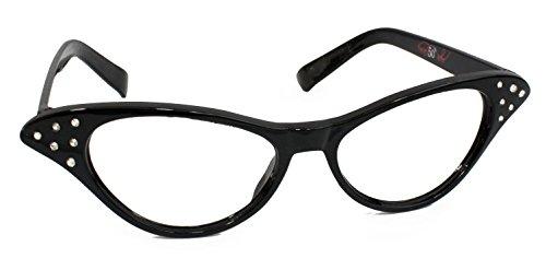 Hip Hop 50s Shop Womens Cat Eye Rhinestone Glasses, Black