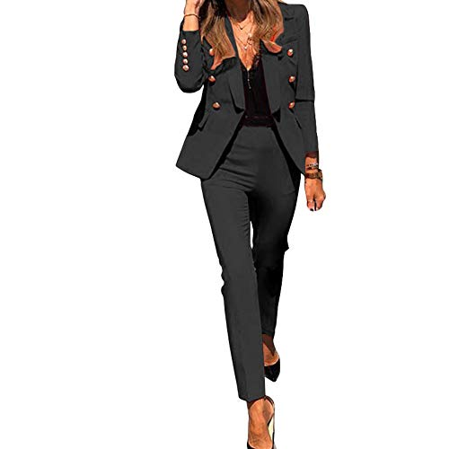 Tailleur 2 Pièces Femme Ensemble Blazer Décontracté à Manches Longues et Pantalon Long de Travail,Couleur Unie Slim Fit Office Bureau Blazer et Pantalon Habillé,Revers Costume Manteau Noir L