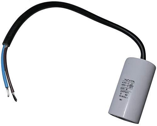 AERZETIX - C10191 - Betriebskondensator - für Motor - 14µF 450V - Ø35/65mm - mit Kabel - Kunststoffkörper - Zylindrischer - Weiß