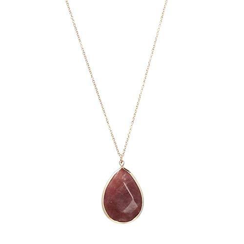 TFOOD Stone Ketting Voor Vrouwen,7 Chakra Natuurlijke Rode Onyx Water Drop Hanger Ketting Gouden Ketting Charm Energiebalans Voor Moederdag Man Geschenken Sieraden