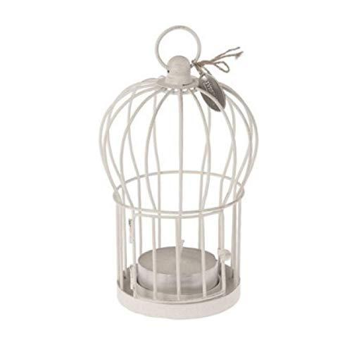 Riverdale Windlicht Vogelkäfig Weiß Shabby Teelichthalter Metall 19x11 cm