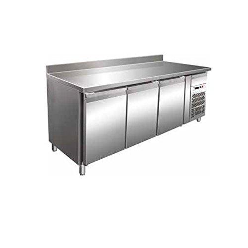 Tisch Gefrierschrank Gastronomie GN1/1belüftet mit Etagere 3Türen aus Edelstahl AISI 304Temp. - 18°/-22°C