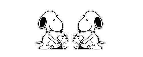 Snoopy und Woodstock Aufkleber x2 niedlich Süss knudelig Comic Sticker Autocollants / Plus Schlüsselringanhänger aus Kokosnuss-Schale / Auto Motorrad Helm Laptop Notebook Koffer Snowboard Skateboard