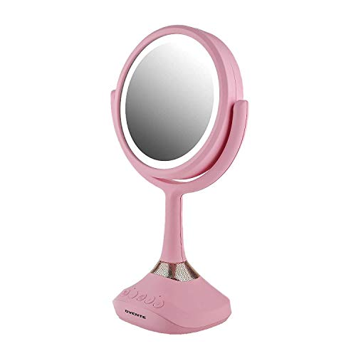 Ovente Lighted Vanity Mirror, Table Top, 360 Degree Spinning 6'' Double Sided Circle LED 1X 5X Magnifier with MP3 Audio, Wireless Speaker, Rechargeable, USB Operated, Baby Pink MRT06P1X5X