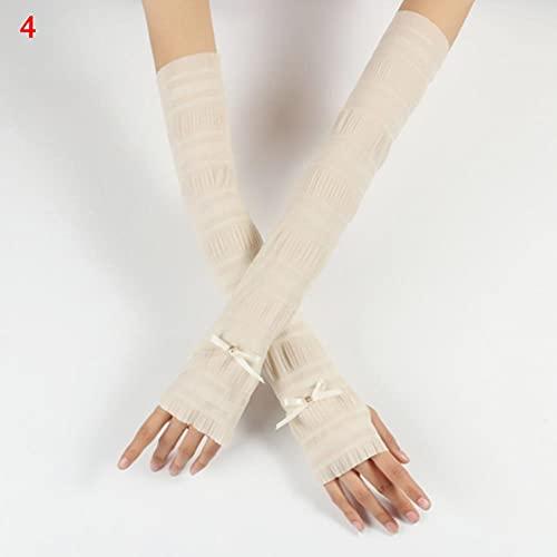 UKKO Armstulpen Gefälschte Ärmel Armhülsen Sexy Spitze Handschuhe Sommer Sonnencreme Fingerlose Handschuhe Bedeckt Elastische Armschutz Handgelenkhülse-N,One Size