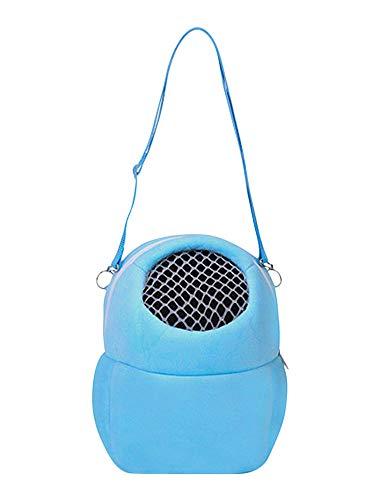 Plus Nao(プラスナオ) キャリーポーチ キャリーバッグ 小動物用 ハムスター用 ショルダー ファスナー ソフトタイプ メッシュ ペット用 肩掛 ブルー S