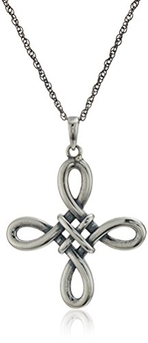 Oxidized Sterling Silver Celtic Knot Cross Pendant Necklace, Gray, 18 Inch