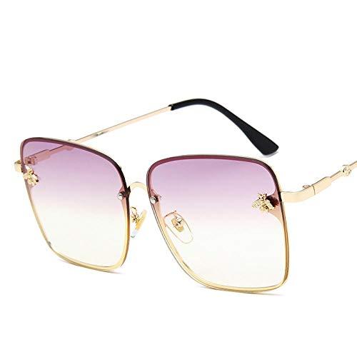 Sunglasses Gafas De Sol De Gran Tamaño De Metal para Mujer, con Montura Colorida, Gafas De Sol Cuadradas Vintage De Abeja para Mujer, Gafas De Sol Retro Rosadas, Gafas Mo