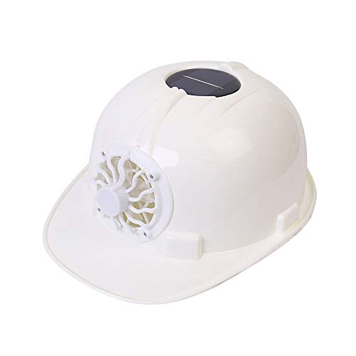 LSX--Hard hat Hard hat - Fan Cap Factory Workers Summer Ventilation Solar with Fan Construction site Sun Visor hat Construction Helmet (Color : White)