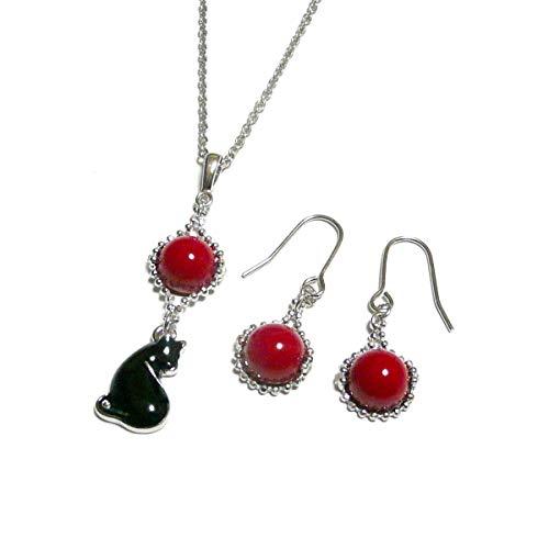 黒猫 と 赤珊瑚 の ペンダント ネックレス と シンプル ピアス セット
