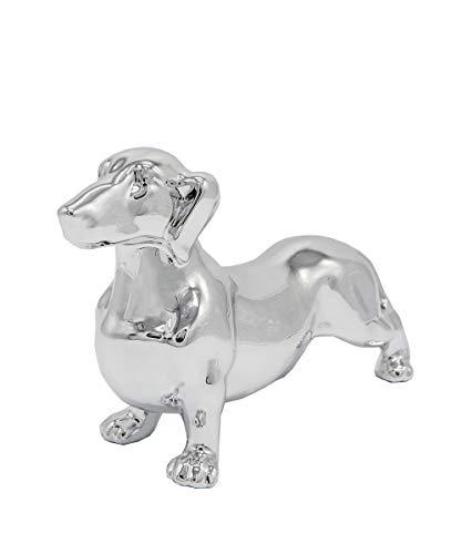 Nayothecorgi Ceramic Dog Statue - Standing Dachshund (Metallic Silver)
