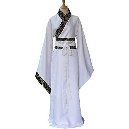 DAZISEN Herren Hanfu - Chinesische Traditionelle Kleidung Tang Anzug Minister Cosplay Performances Kostüm, Weiß/S