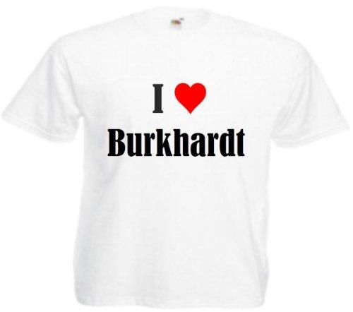 T-Shirt I Love Burkhardt Größe 2XL Farbe Weiss Druck Schwarz