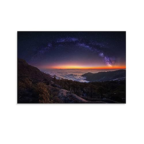 Moon Poster Seaside Rocks Ocean Waves Starry Sky Sunset Landscape Home Decoration Canvas Paintings Wall Art Large Movie Posters 20x30inch(50x75cm)