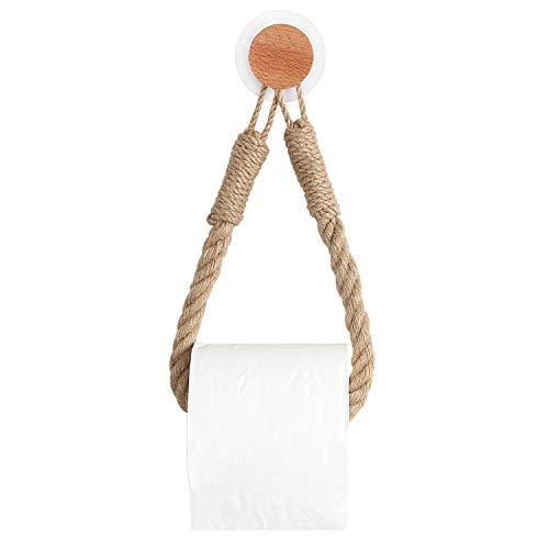 OCIOLI - Soporte de papel higiénico, estilo náutico industrial, cuerda costera que asegura toalla náutica con gancho adhesivo de pared para decoración de baño