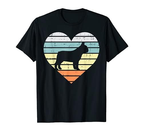 French Bulldog Heart Sunset Retro Frenchie Dog Lover Gift T-Shirt