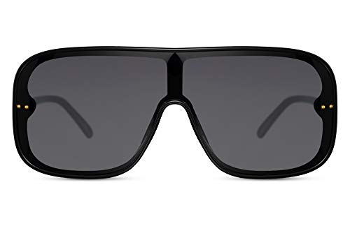 Cheapass Gafas de Sol Enormes Negras Carcasa Una pieza Lentes Negras para Hombres y Mujeres Fiesta Festival Alocadas Oversize XXL Gafas de Sol