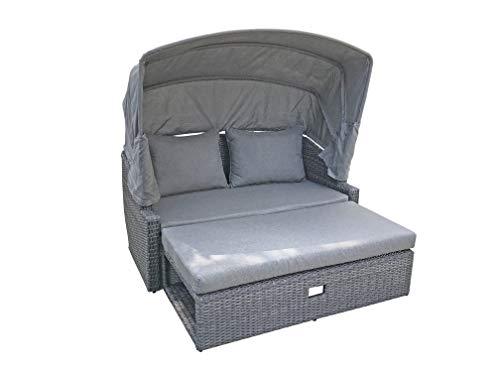 Garten Lounge Sonneninsel Sofa Funktion Sitzgruppe Sitzecke Polyrattan grau