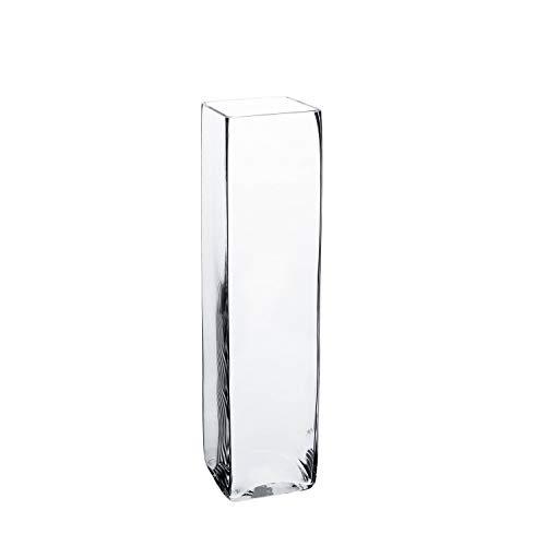 INNA-Glas Säulenvase - Glas Vase Jack aus Glas, klar, 14x14x55cm - Blumenvase - Bodenvase