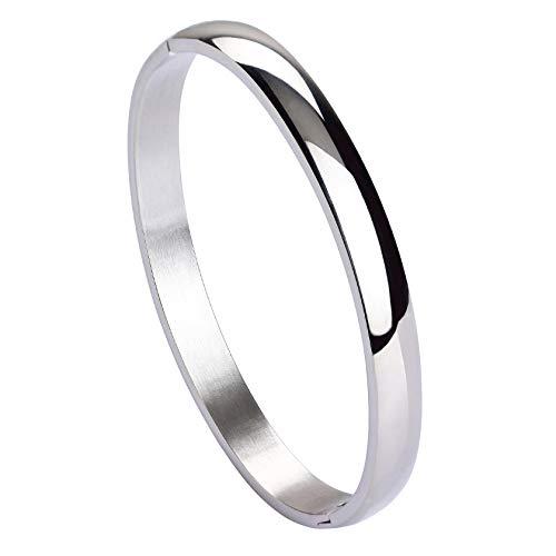 MILAKOO Damen 6MM Edelstahl Armband glatt poliert Finish Oval Armreif Silber
