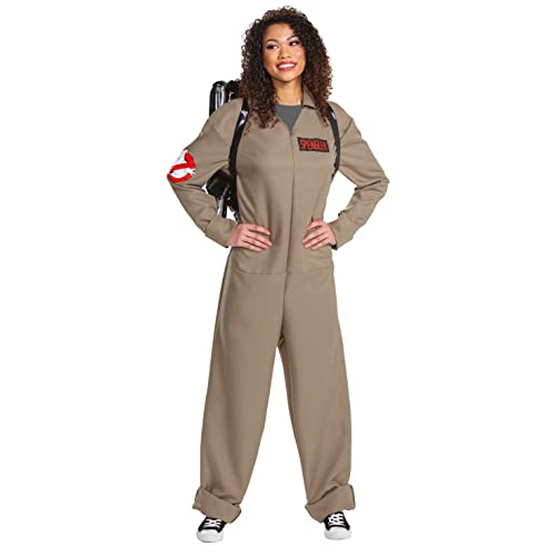 Women's Official Ghostbusters Jumpsuit Costume with inflatable proton backpack, medium 38-40 size