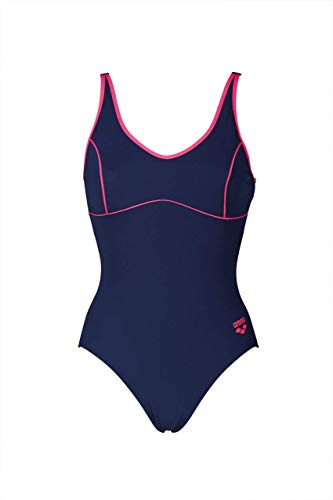 ARENA W Tania Clip Back, Costume Sportivo Donna, Navy/Aphrodite, 48