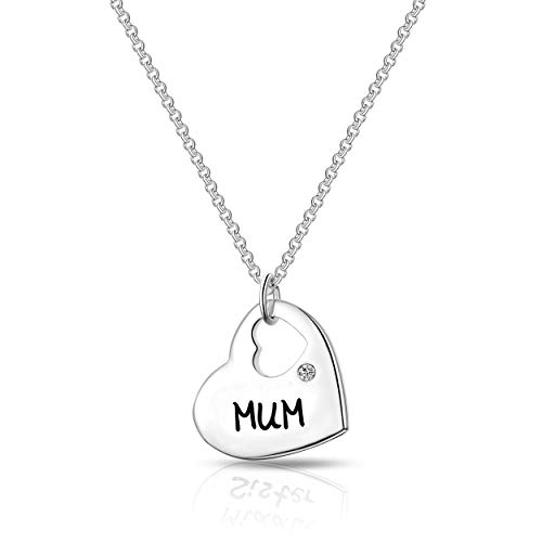 Philip Jones Mum Heart Necklace Created with Austrian Crystals