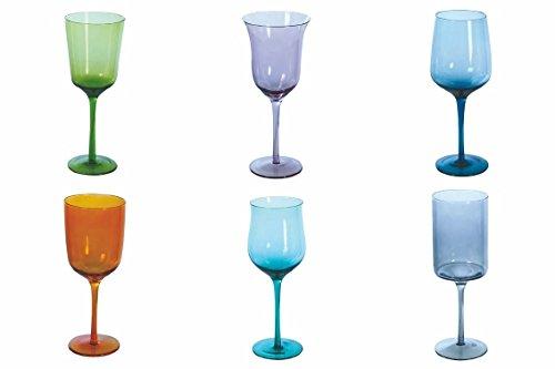 Villa d 'Este Home Tivoli Cromia Set 6Weingläser multiforma, Mehrfarbig, 6Einheiten