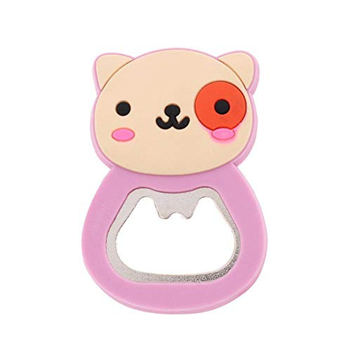 Tings Leuke zachte plastic cartoon flesopener Cartoon bieropener Multifunctionele magnetische opener koelkaststicker, roze kat