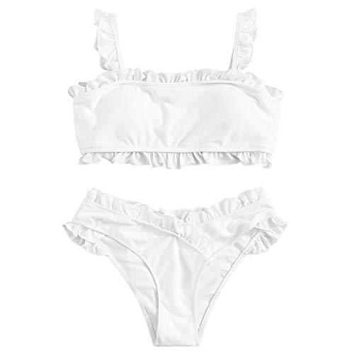 TOPKEAL Damen Push up Frauen Einfarbig Bandage Bikini Set Brasilianische Badebekleidung Beachwear Badeanzug (Weiß, Medium)