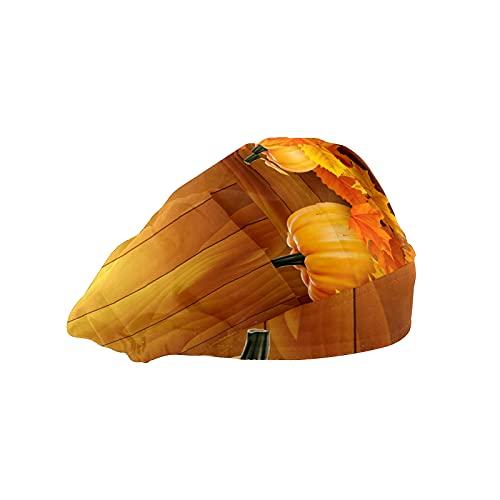 Gorra de mujer para cabello largo con banda elástica ajustable para el sudor Gorras de trabajo para hombres Bufanda de cabeza impresa 3D Gorros dorados calabaza arce madera