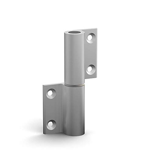 BUNT & PFIFFIG Doppelpack Möbelband Möbelscharnier Aufschraubband Türscharnier aus Aluminium eloxiert Silber ähnlich RAL 9006 Weißaluminium DIN-Richtung: Links - aufschraubbar