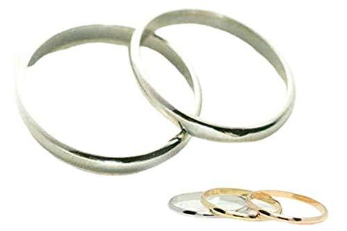 [京都ジュエリー工房] 結婚指輪 マリッジリング 甲丸 1.5mm幅 ペアリング ブライダルリング 2本セット ハンドメイド リング ダイヤ入れ:不要 kyoku-kou_001 K18ホワイトゴールド メンズ19号・レディース8号