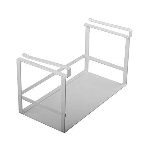 ZH Rangement pour assaisonnement sous tablette, étagère pour étagère de rangement pour casseroles à épices, plats, bols, résistant à la rouille, capacité de roulement élevée, polyvalente, blanche