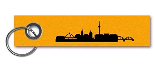 Samunshi® Schlüsselanhänger Mannheim Skyline City Skyline Keychain Schlüsselbund Schlüsselring 13x3cm goldgelb/schwarz