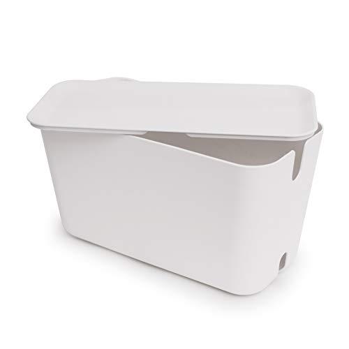 Bosign Boîte de Rangement pour câble XXL en Plastique et Silicone Blanc 46 x 21,5 x 24,5 cm