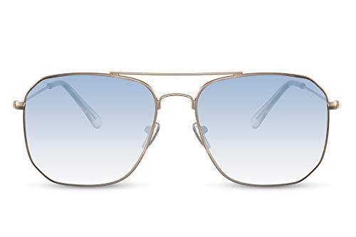Cheapass Gafas de sol Sunglasses Aviador Aviation Cool Male Retro Gold Metal Shape con lentes degradados azules UV400 para hombre protegido