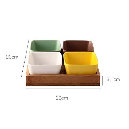 1yess Elegante Tray Getrocknete Früchte, Süßigkeiten und Snacks Pallet Menage Glas mit einem beweglichen Holzpalette mit (Größe: 5 Schalen + Fach) (Size : 4 Bowls+Tray)