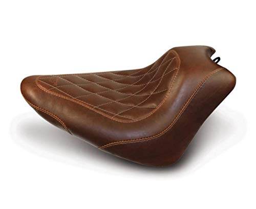Mustang 76766 Wide Tripper Solo Motorcycle Seat with Diamond Stitching for Harley-Davidson 2011-17, Distressed Brown